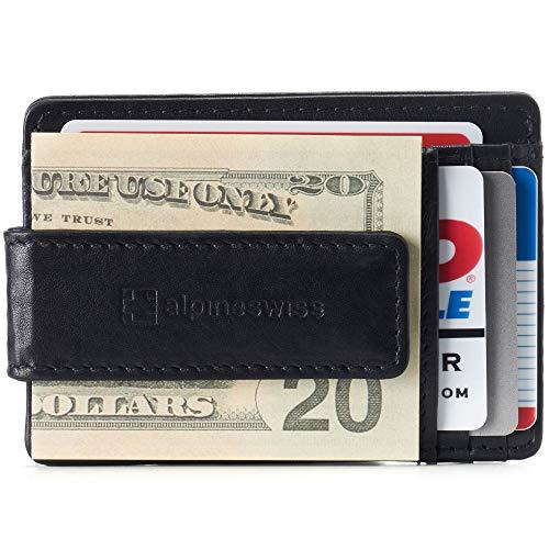 Alpine Swiss Harper Mens RFID Slim Money Clip Front Pocket Wallet Minimalist Leather ID Card Holder Black