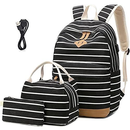 Tela Zaino Scuola Ragazza Donna Zainetto Vintage Canvas Backpack Casual Daypacks per 15.6in Laptop, USB Charging Port