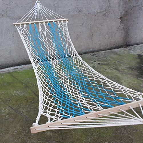 CHDIAO Travel Camping Hangmat Met Houten Stok Enkel Wit Comfortabel Net Draagbare Schommelstoel voor Outdoor Binnenplaats Tuin Strand 200 * 80cm