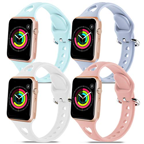 4 Pack Silicone Smartwatch Bands Compatible with Apple Watch...