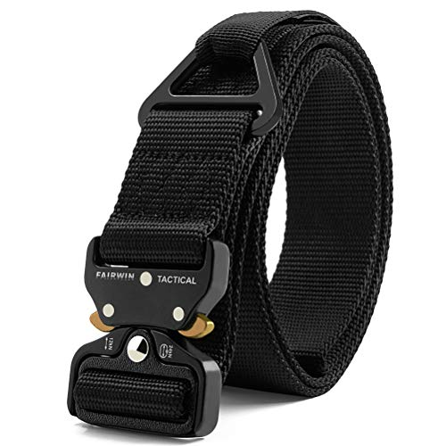 Fairwin Tactical Rigger Belt, Nylon Webbing Waist Belt with V-Ring Heavy-Duty Quick-Release Buckle (Black, XXXL (Waist 55''-60''Width 1.5''))