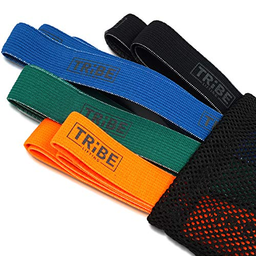 Tribe Lifting Fabric Pull Up Bands 4Pack | Assist Exercise Resistance Bands for Home Fitness Crossfit Stretching Strength Training | 40quot by 1quot 40quot by 1quot 4Pack