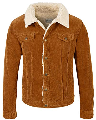 Rock Creek Herren Cordjacke Winterjacke Teddyfutter Jeansjacke Herrenjacke Herren Winter Jacken Teddyfellkragen Parka Warm H-211 Orange M