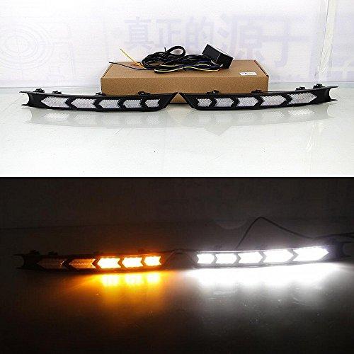 July King LED Tagfahrlicht DRL-M-CX-5-2017 für CX-5 CX-8 2017 2018 2019, LED Frontstoßstange DRL + Gelb Streamer Blinker Licht