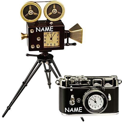 alles-meine.de GmbH 2 TLG. Set: kleine - Tischuhren / Miniaturen - Uhr - Filmkamera + Foto Kamera - inkl. Name - aus Metall - 14 cm - batteriebetrieben - Analog - Batterie - schw..