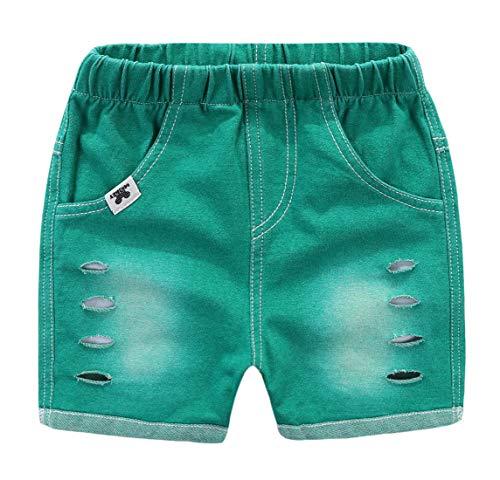 """MMWORM Calça jeans masculina rasgada cintura elástica jeans jeans para meninos e meninas, Verde, 90 (Waistline:15.75"""")"""