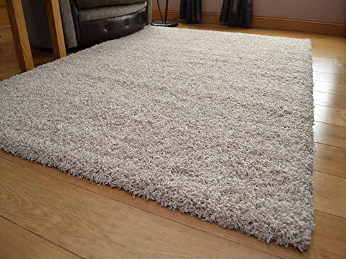 Soft Touch Shaggy Suede Beige Thick Luxurious Soft 5 cm Dense Pile Rug. Available In 7 Sizes (120 cm x 170 cm)