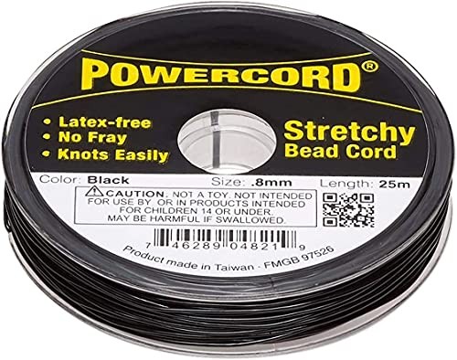 Powercord Stretchy Elastic Cord Black 0.8mm 25m/82ft for Jewelry Making 8.5-Pound Test