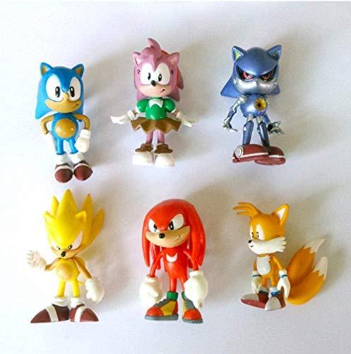 Anime Figures Model Sonic Boy Super Sonic Mouse PSP game 6pcs/set Sonic...