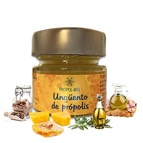 Propolis zalf - 30 ml - BIO. Regenererende huid- en gezicht zalf. Propolis crème in een glazen bakje met metalen deksel, zeer goed bestand tegen schokken.