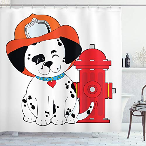 Lunarable Fireman Shower Curtain, Cartoon Style Dalmatian Firefighter Puppy Wiggling Its Tail with Fire Hydrant, Cloth Fabric Bathroom Decor Set with Hooks, 70' Long, Red Orange Black