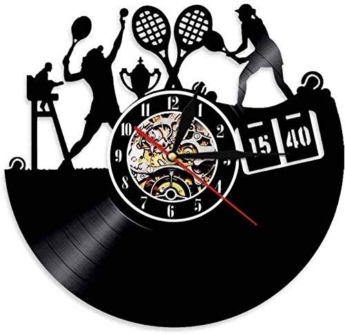 ZYBBYW Reloj de Pared de Vinilo Reloj de Pared Retro de Tenis Reloj de Pared de 12 Pulgadas Reloj de Pared de Vinilo CD Reloj de Cuarzo Hecho a Mano Decoración para el hogar en Interiores