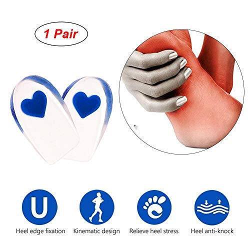 AKQ Fersensporn Gelkissen, Hilfe gegen Fersenschmerzen aufgrund von Plantar Fersenspor,Einlegesohle für Arbeitsschuhe und Sport(1 Paar) Large-Blue
