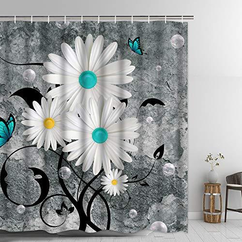 "Ikfashoni Floral Butterfly Shower Curtain White Daisy Shower Curtain for Bathroom Farmhouse Rustic Bathroom Curtain with 12 Hooks, Fabric Flower Bathroom Shower Curtains, 69"" x 70"" Grey"