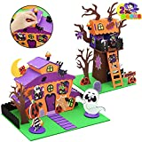 JOYIN 2 Pack Halloween Foam Haunted House 3D Craft Kit for Kids, 3D Halloween Tree House and Pumpkin Haunted House, Halloween Art and Craft DIY Kit, Halloween Party Favors Party Decoration