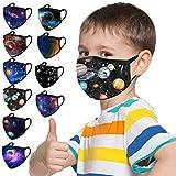 Loopardo 10 Stück Kinder Mundschutz Multifunktionstuch 3D Cartoon Druck Maske Waschbar Baumwoll Stoffmaske Atmungsaktiv Mund-Nasen Bedeckung Universum Planet Motiv Halstuch Schals Jungen Mädchen
