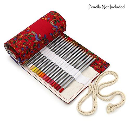 BTSKY Estuche Enrollable para Lápices con 72 Agujeros Cortina de Lápices de Tela de Gran Capacidad Organizador para Envolver Lápices de Colores, Color Rojo Estilo Árboles Rojos