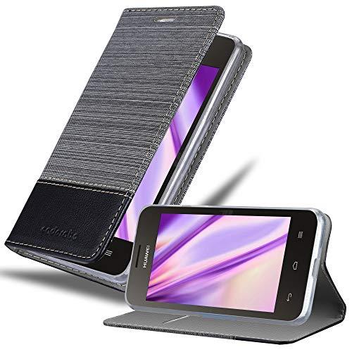 Cadorabo Hülle für Huawei Y330 in GRAU SCHWARZ – Handyhülle mit Magnetverschluss, Standfunktion und Kartenfach – Case Cover Schutzhülle Etui Tasche Book Klapp Style
