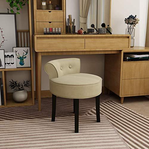 YANGSANJIN bureaustoel, fluweel home office stoel gestoffeerde computer bureau stoel houten benen Beige (Beige)