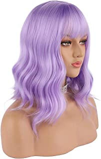 eNilecor Lavender Purple Wig Short Colorful Wavy Bob Wigs with Air Bangs 14