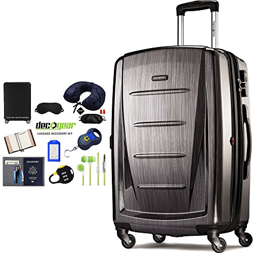 Samsonite 56846-1174 Winfield 2 Fashion HS Spinner 28 Inch - Charcoal Bundle w/Deco Gear Luggage Accessory Kit (10 Item)