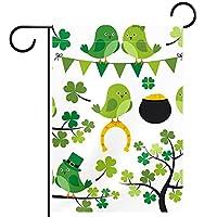ホームガーデンフラッグ両面春夏庭屋外装飾 28x40INCH,緑のクローバー鳥