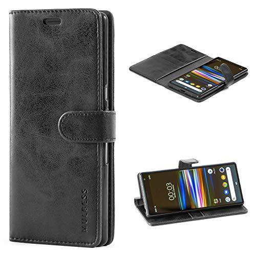 Mulbess Handyhülle für Sony Xperia 10 Plus Hülle Leder, Sony Xperia 10 Plus Handy Hüllen, Vintage Flip Handytasche Schutzhülle für Sony Xperia 10 Plus Hülle, Schwarz