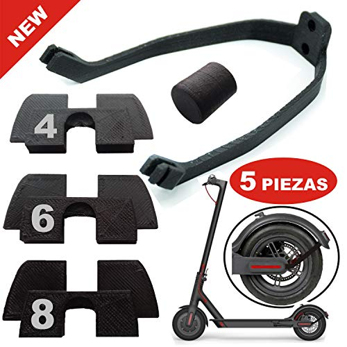 3x amortiguador de Goma 3D flexible anti holgura y vibración, 1x tapón Goma Patilla, 1x soporte guardabarros trasero, accesorios repuestos scooter xiaomi mijia M365 y M365 pro