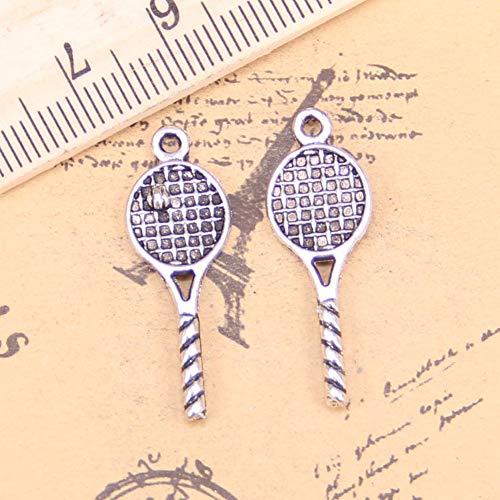 LKJHG 24 Colgantes Antiguos de Raqueta de Tenis de 30x10 mm, joyería de Plata, Bricolaje para Collar de Pulsera