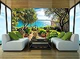 wotomou 3D-Hintergründe - Mediterraner Park Fototapeten Wandgemälde Dekorative Papierposter - Fototapeten