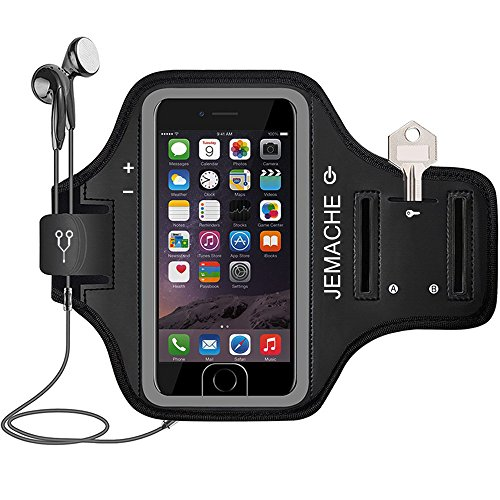 iPhone 7/8 Armband, JEMACHE Fingerprint Touch Supported Gym Running Workout/Exercise Arm Band Case for iPhone 6/6S/7/8 with Key/Card Holder (Black)