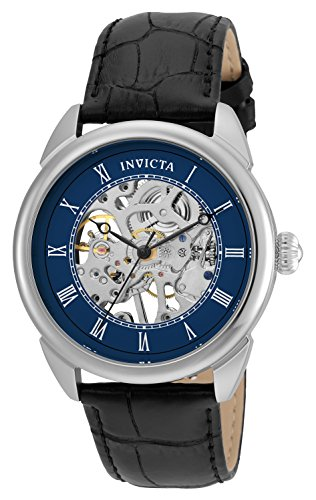 Invicta Men's Specialty Stainless Steel Mechanical-Hand-Wind Watch with Leather Calfskin Strap, Black, 22 (Model: 23534)