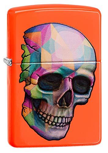Zippo Zippo Unisex Skull Winddicht Leichter, Neon Orange, One Size Neon-orange