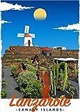 StickIt2Me Lanzarote Art Deco Retro Reise-Poster A3
