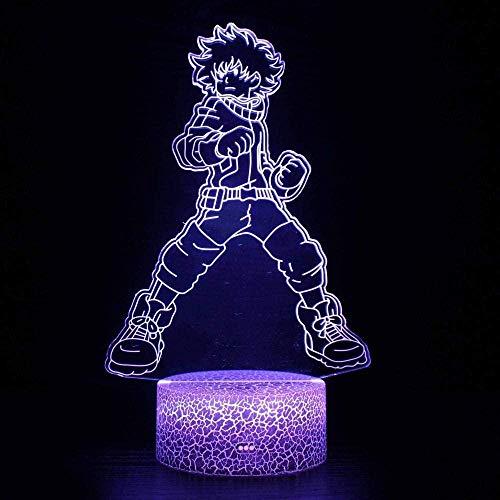 Luz de noche ilusión 3D luz de humor para niños Control remoto de 7 colores y luz de regalo de vacaciones con botón táctil - Personaje de anime de dibujos animados