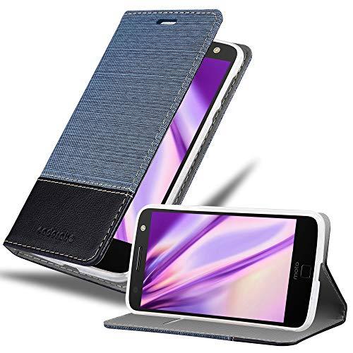 Cadorabo Hülle für Motorola Moto Z Play in DUNKEL BLAU SCHWARZ - Handyhülle mit Magnetverschluss, Standfunktion & Kartenfach - Hülle Cover Schutzhülle Etui Tasche Book Klapp Style