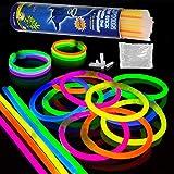 Paquete de Fiesta de 100 barritas Luminosas con 100 Conectores 7 Colores Barras Luminosas fluorescentes 20cm Glow Sticks Collares pulseras fluorescentes para Fiestas,eventos, Bodas, cumpleaños