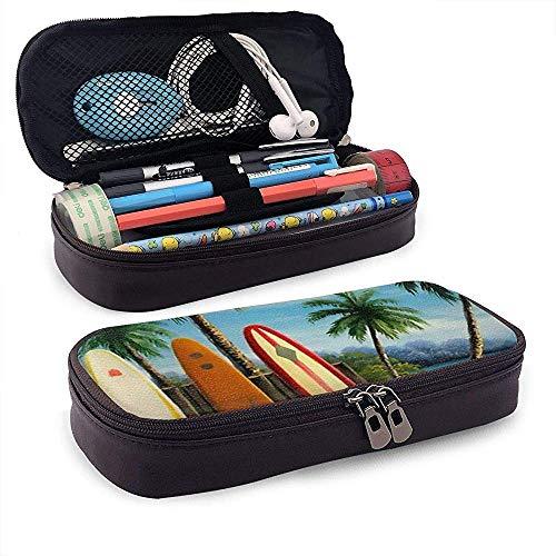 Astuccio portamatite in Pelle Tavole da Surf e Palme Penna Cartoleria Pouch Bag Cerniera Astuccio per trucco cosmetico per ufficio scolastico