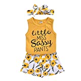 Toddler Baby Girl Outfits Flower Tops Sleeveless Vest Shorts Headband Summer Clothes Set(Size100/2-3T) Yellow