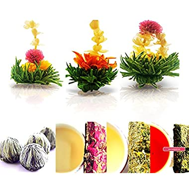 Tea Beyond Tea Samplers Assorted Gift Zen Flowering Tea 3 Packs Rose 20g Chamomile Herbal 20g Sweet Hibiscus Herbal Tea 20g Natural Vegan No Flavors Additives added White Blooming Tea Set