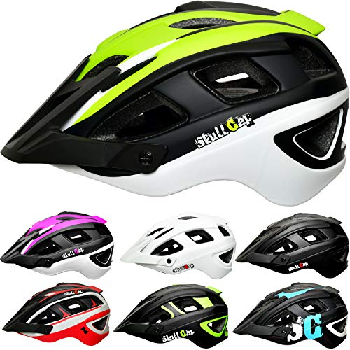 Skullcap Fahrradhelm & MTB Helm + Visier für Herren & Damen (V-Trail, L (59-61 cm))