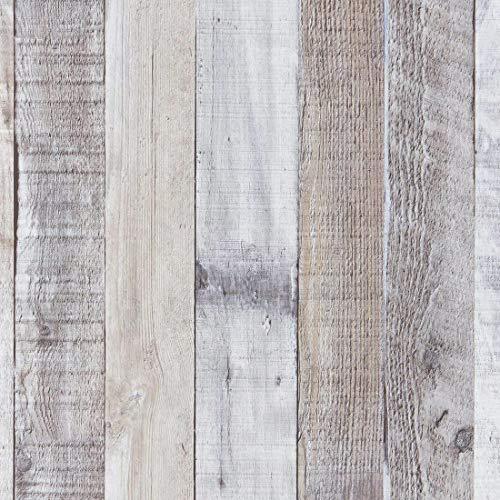 Art3d 17.7'x78.7' Peel and Stick Wallpaper - Decorative Self Adhesive Vinyl Film Wood Grain Wallpaper for Furniture Cabinet Countertop Shelf Paper, Grey Shiplap Wallpaper