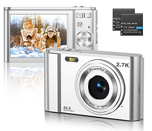 CLUINIGO Digitalkamera, FHD 2.7K 44MP Pocket Vlogging Vidio Foto Kompaktkameras für YouTube mit 16-fachem Digitalzoom, 2,88-Zoll-LCD-Bildschirm für Kinder Senioren Anfänger Reise (2 Batterien)