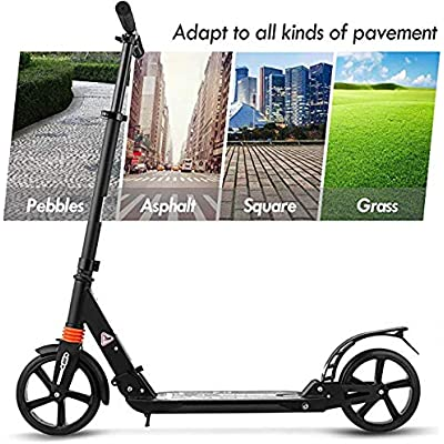 220lbs Weight OUTCAMER Adult Scooter Teenager Foldable 3 Levels Adjustable Height 2-Wheel Kick Scooter for Teens Young Women Men Support 100KG