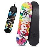 Skateboard,80 x 20cm,8 Capas Monopatín de Madera de Arce,Completo Patineta,Longboard,Mini Cruiser,Tabla de Skateboard,Doble Patada Cóncava,para Adolescentes Principiantes Niñas Niños Adultos