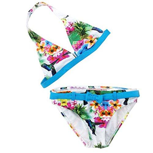 OMSLIFE Mädchen Bikini Kinder Mädchen Baby 2tlg Neckholder Fransen Bikini Tankini Set Schwimmanzug Badeanzug Bademode (158/164, Blau)