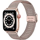 Upeak Compatibile con Cinturino Apple Watch 38mm 40mm 42mm 44mm, Cinturino di Ricambio in Acciaio Inossidabile con Fibbia Regolabile Compatibile con iWatch Series SE 6 5 4 3 2 1, 38mm/40mm-Oro Rosa