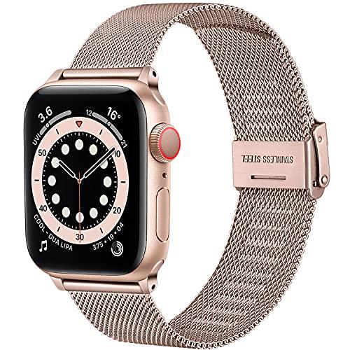 Upeak Compatible con Correa Apple Watch 38mm 40mm 42mm 44mm, Pulsera de Repuesto de Acero Inoxidable con Hebilla Ajustable Compatible con iwatch Series SE 6 5 4 3 2 1, 38mm/40mm-Oro Rosa