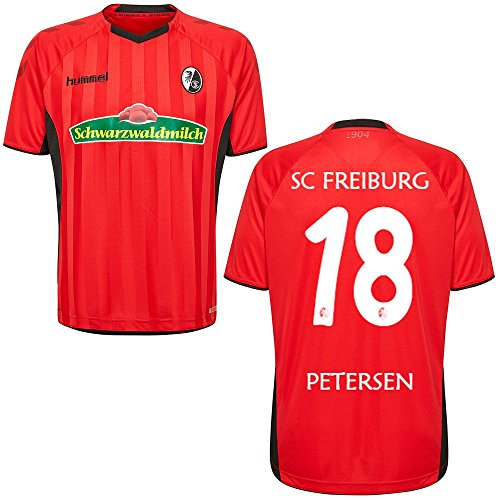 FanSport24 SC Freiburg SCF Heimtrikot 2018 2019 Home Trikot Herren Petersen 18 rot schwarz Gr S