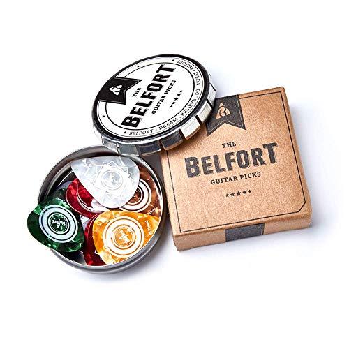 Belfort® 20 hochwertige Plektren für Gitarre in edler Geschenk Box Gitarren Plektrum aus extrem robustem Celluloid 4 Stärken: 0.46-1.20mm | BONUS: Gratis Ebook